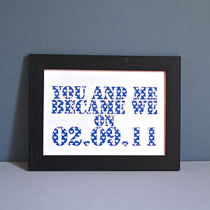 Personalised You And Me Became We Unframed Print