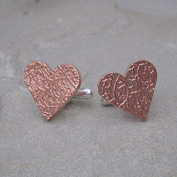 Silver And Copper Heart Cufflinks