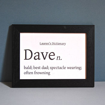 Personalised Black/White Dictionary Unframed Print