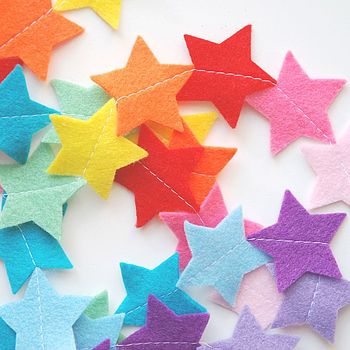 Rainbow Felt Star Nursery Garland