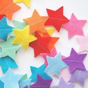 Rainbow Felt Star Nursery Garland