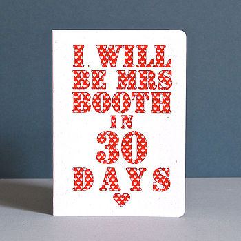 Personalised 'Mrs' Countdown Card