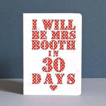 Personalised 'Mrs' Countdown Card