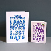 Personalised Christmas Days I've Loved You Card - christmas