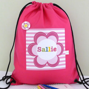 Girl's Personalised Pink Flower Waterproof Kit Bag - children's accessories