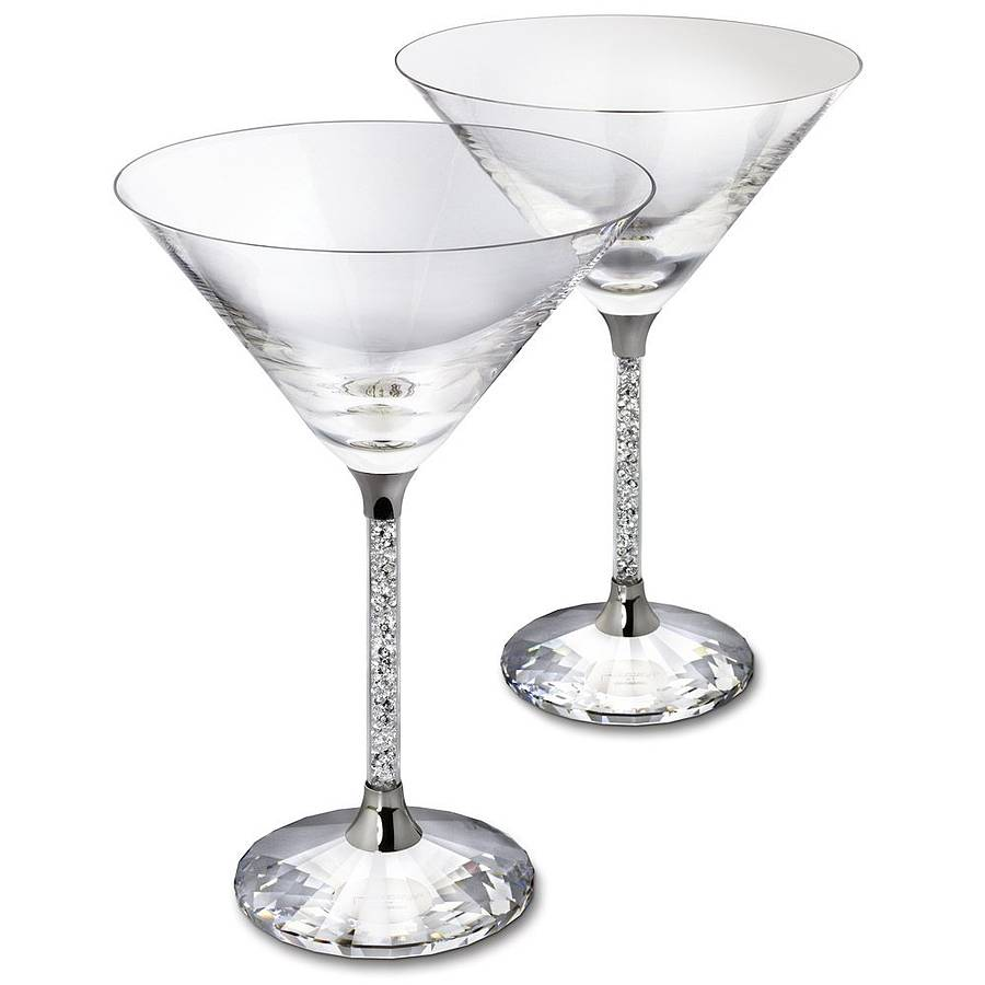 pair of diamante filled stem martini cocktail glasses by. Black Bedroom Furniture Sets. Home Design Ideas