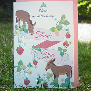 Thank You Notecards With Donkeys - christening invitations