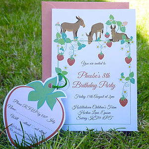 Party Invitation With Strawberries And Donkeys