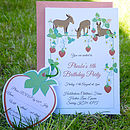 Donkeys Party Invitation With Strawberry RSVP Tag