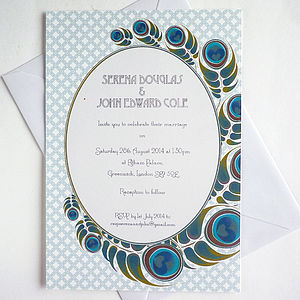 Peacock Feathers Wedding Invitation - wedding stationery