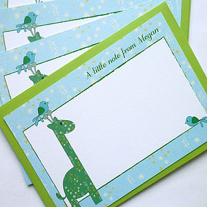 Personalised Children's Giraffe Notecards - thank you cards