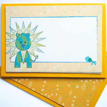 Set Of 12 Lion Notecards