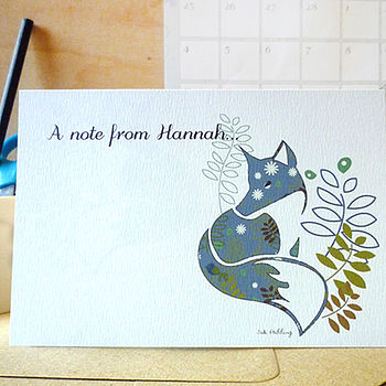 blue-green-fox-notecard-personalised-ink-pudding-notonthehighstreet