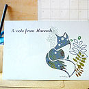Personalised Fox Notecards