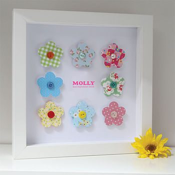 Personalised Baby Girl Flowers Artwork