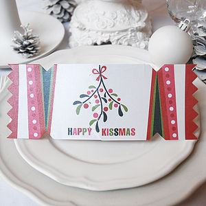 'Happy Kissmas' Christmas Cracker Card - cards