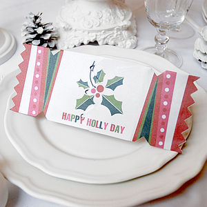 'Happy Holly Day' Christmas Cracker Card - cards