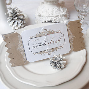 Gold Wonderland Christmas Cracker Card - table decorations