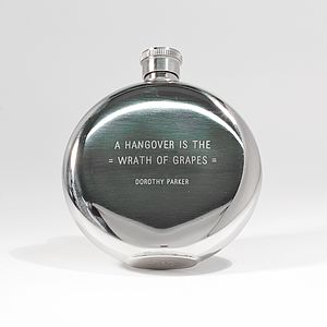 'Hangover Is The Wrath Of Grapes' Hipflask - wines, beers & spirits