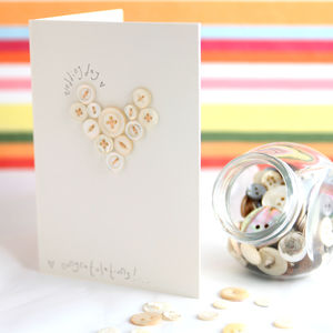 Handmade Wedding Button Heart Card - cards