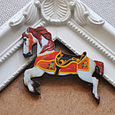 White Wooden Carousel Horse Brooch