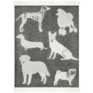 Dogs Wool Throw - throws, blankets & fabric