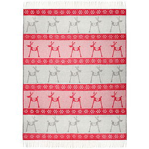 Festive Moose Wool Throw - christmas home accessories