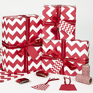 Recycled Red Chevron White Wrapping Paper - summer sale