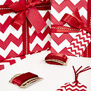 Recycled Red Chevron White Wrapping Paper