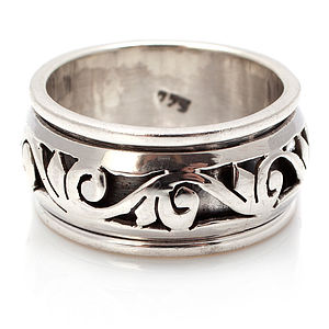 Filigree Silver Spinning Ring - rings