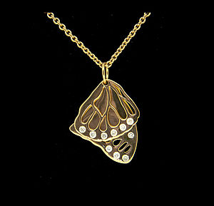 Butterfly Wings Necklace With Cubic Zirconias - necklaces & pendants