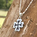 Lucky Clover Wood And Silver Necklace
