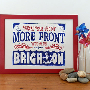 Brighton Linocut (Red and Blue)