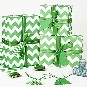 Recycled Green Chevron White Wrapping Paper - christmas craft ideas