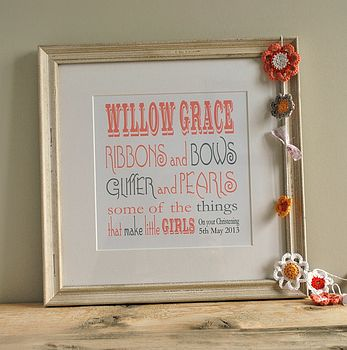 Baby print in distressed white frame