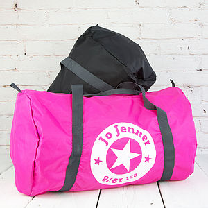 Personalised Star Gym Barrel Bag - off to university