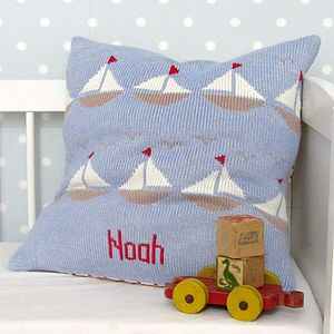 Personalised Knitted Boats Cushion - baby & child