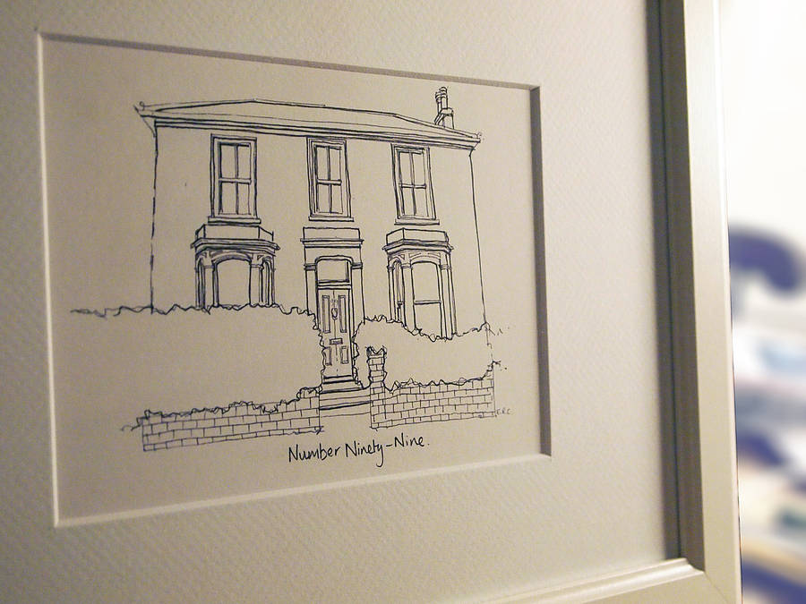 personalised house portrait line drawing by homemade house