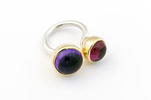 Silver And Gold Double Cup Ring - women's jewellery