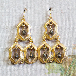 Gold Statement Earrings With Smokey Quartz