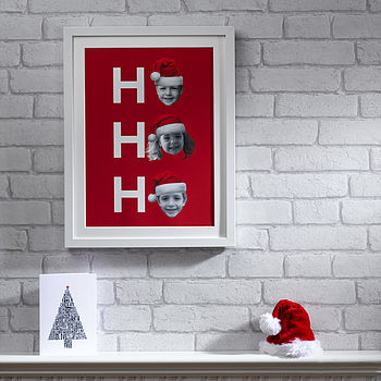 Personalised Father Christmas Hat Print - Red & White