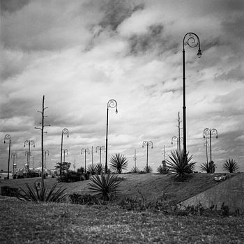 Street Lights, Cuba, Black And White Signed Print