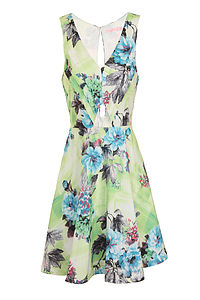 Floral Print Cut Out Dress
