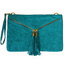 Jacquard Embossed Teal Suede Clutch Bag
