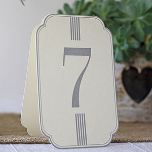 Set Of 12 Cream And Grey Wedding Table Numbers