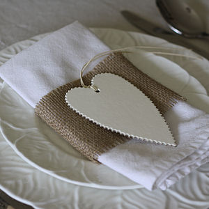 Six Heart Gift Tags Cream, Grey, Brown - wedding favours