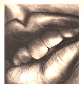 Charcoal Mouth Original Drawing