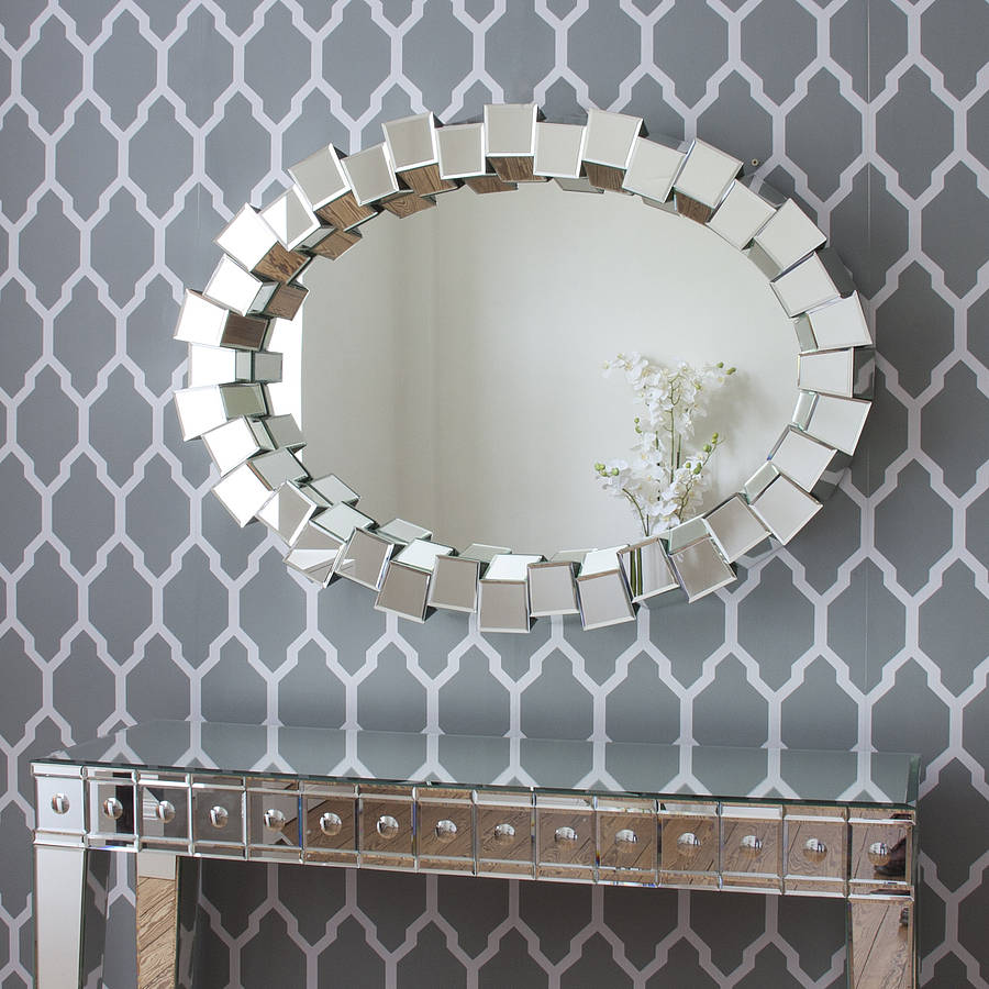 Contemporary block all glass mirror by decorative mirrors for Large contemporary mirrors