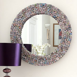 Multicoloured Recycled Round Mirror - shop by price