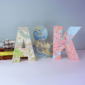 Large Bespoke Wooden Map Letters - gifts for the home